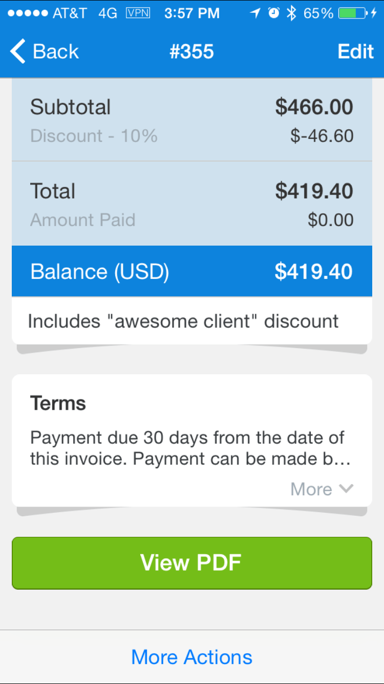 Awesome client discount in action