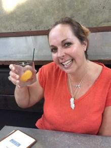 My gorgeous wife with her favourite new drink, a negroni