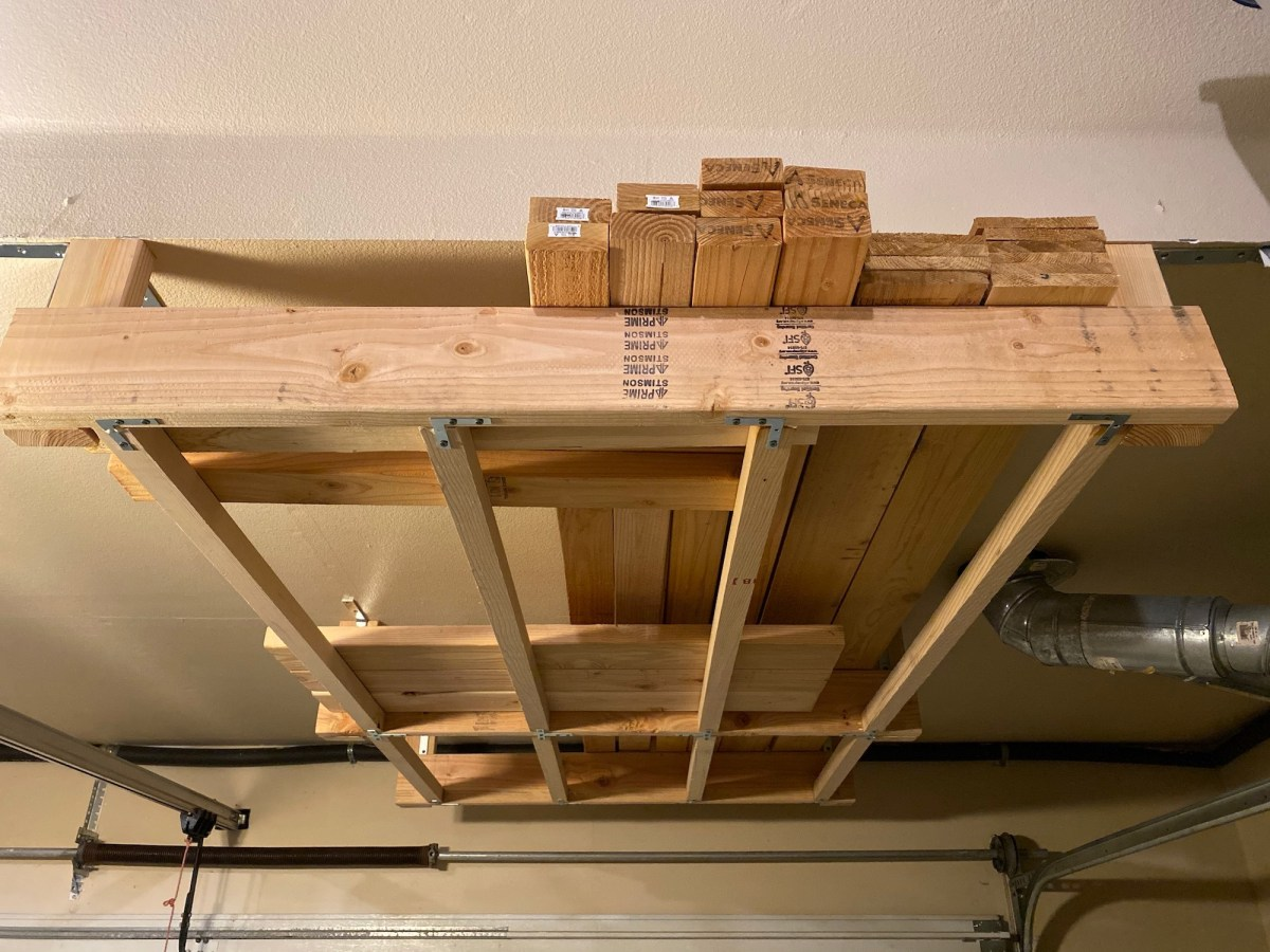 Building a wood storage rack above my garage door