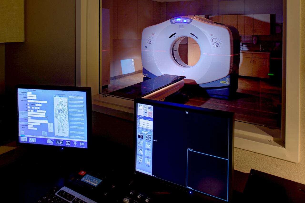 Photo of CT Scanner Control Room at the South Sacramento Cancer Center
