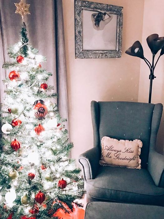 christmas tree and chair