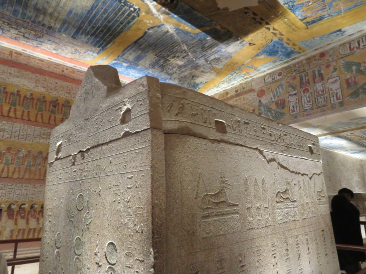 Sarcophagus is empty. The mummy of Ramses IV is in the Cairo Museum.