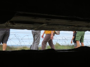 Looking outside from inside one of the German bunkers