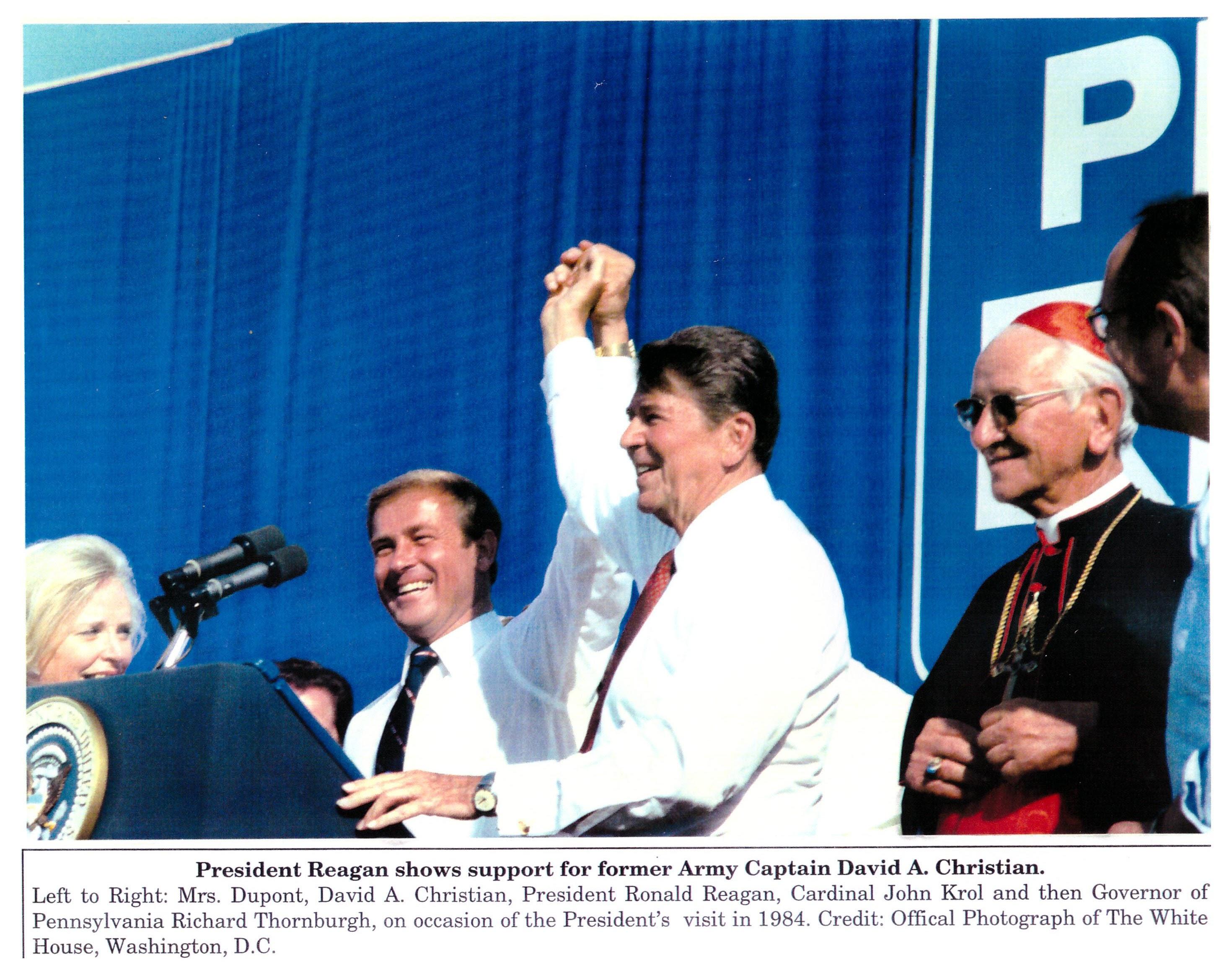 Ronald Reagan supports David A. Christian