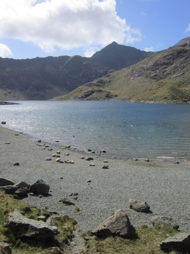 View of Snowdon from Llyn Llydaw, taken on the Miners track on our route down