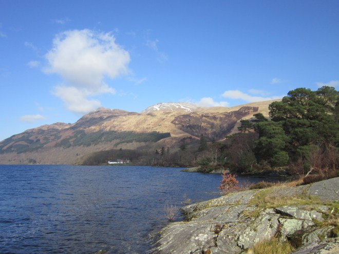 Loch Lomond. The snow covered peak is Ben Lomond.
