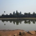 View across water of Angkor Wat in Cambodia