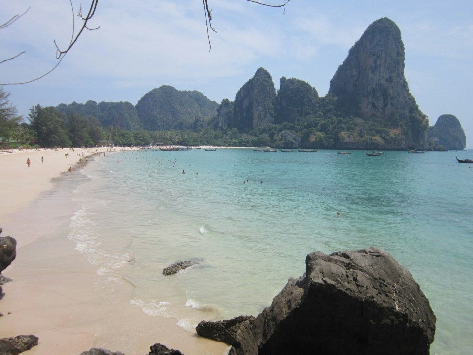 Looking out over West Railay beach from the path from Tonsai, Thailand