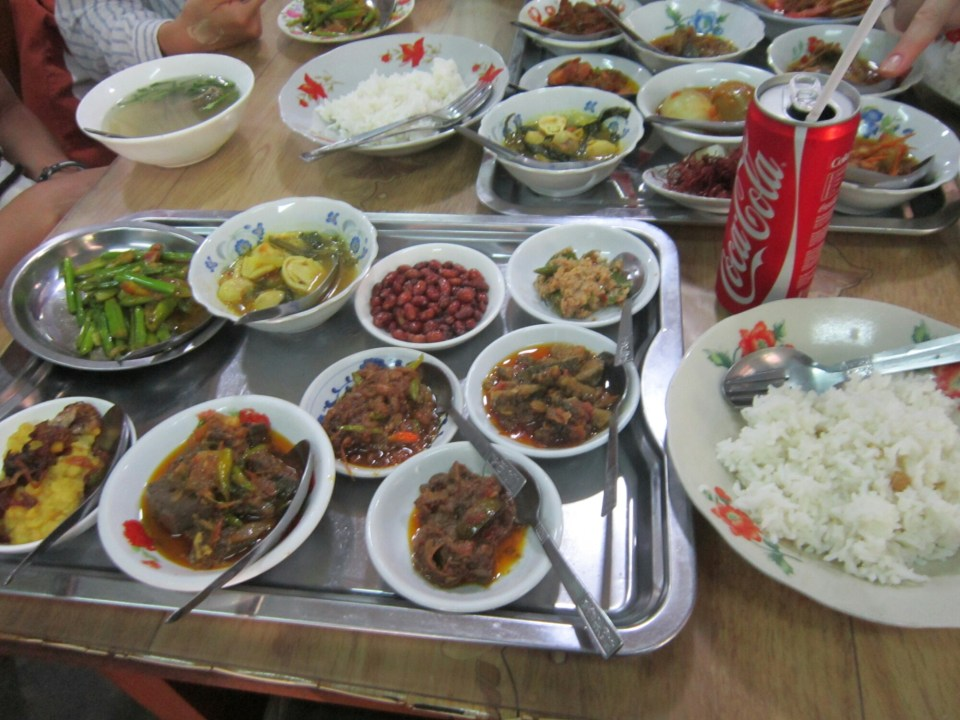Burmese food featuring multiple dishes in a restaurant in Bagan, Myanmar