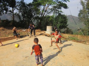 The people of Myanmar - kids playing football in a village near Hsipaw