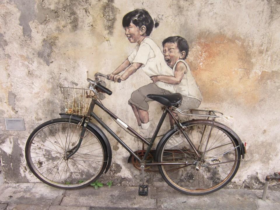 Penang Street Art Little Children On Bicycle