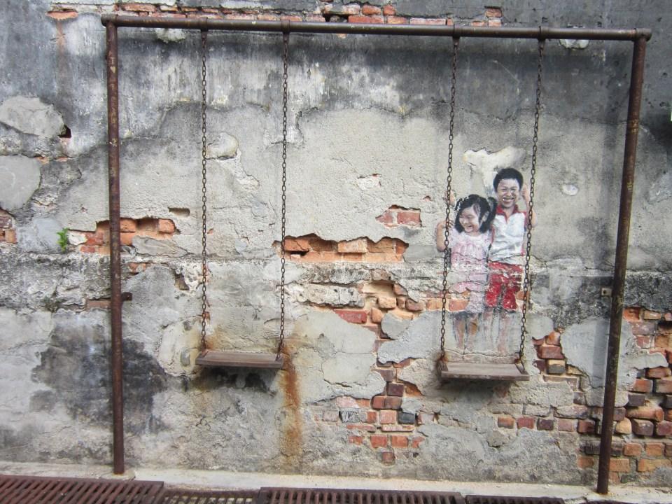 Penang Street Art Children on swings