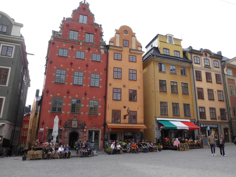 Colourful buildings (red and yellow) in Stortorget Sqaure, Gamla Stan, Stockholm