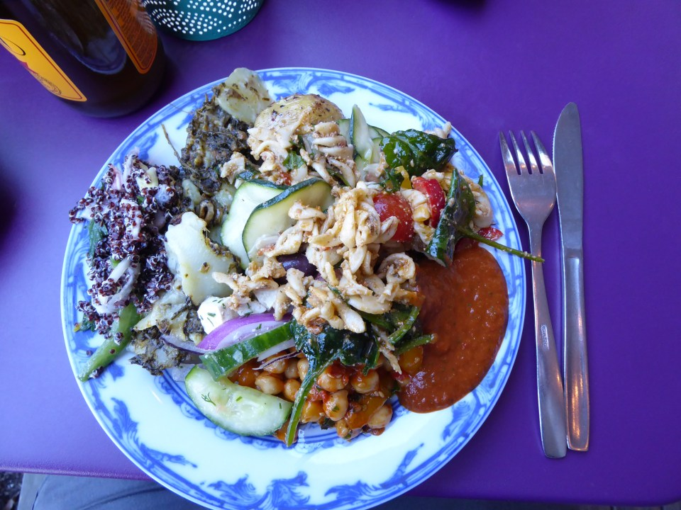 Plate full of vdegetarian food at Hermans restaurant in Stockholm