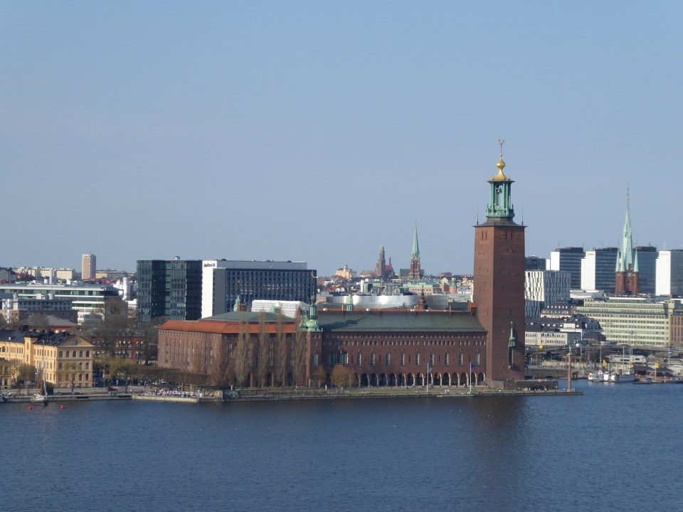 A view of Stockholm's Town Hall across the water