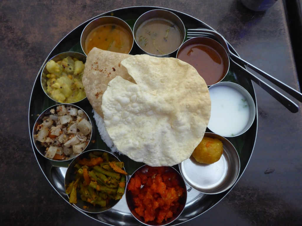 A 'Thali' style set meal. Found at Thali-NR Sweets Cafe, George Town. Vegetarian Penang Guide.