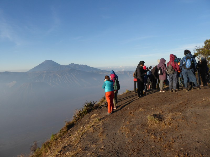 Mount Bromo Travel Guide - Crowds gathered at the 'King Kong Hill' viewpoint for sunrise