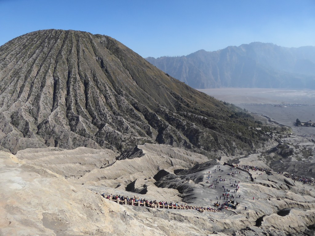 Mount Bromo Travel guide - Looking outwards from the top of the Bromo Crater, across the Sea of Sand