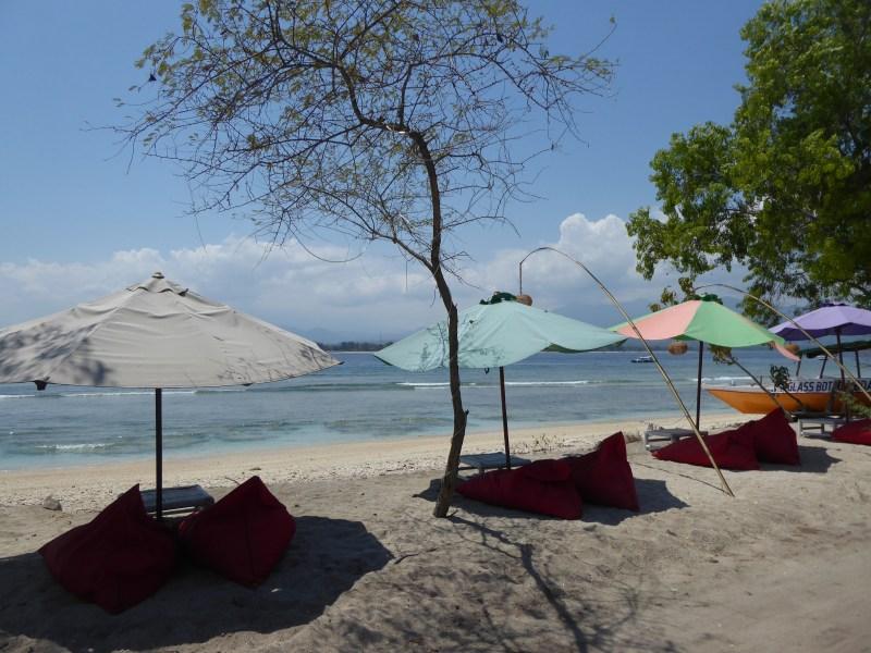 Cushions on the beach on Gili Air