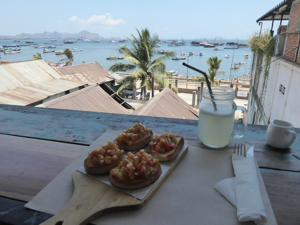 Komodo Islands Travel Guide - bruschetta and the view at La Cucina restaurant in Labaun Bajo