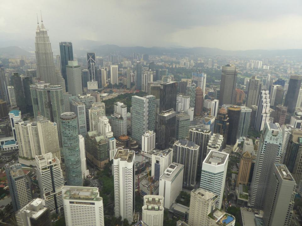 View from KL Tower across Kuala Lumpur as storm clouds gather