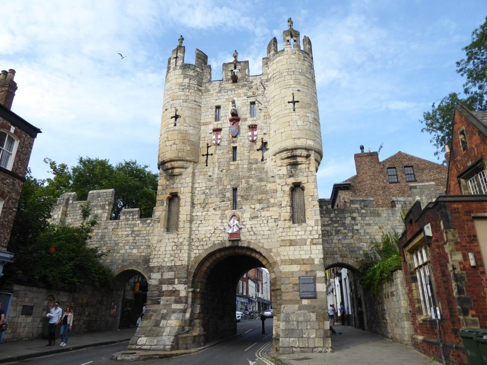 View of the Micklegate Bar gatehouse in York. Seen from the side approaching the city.