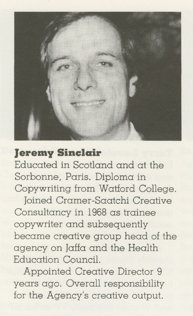 Jeremy Sinclair, Campaign Press biog, 1982 86923-01
