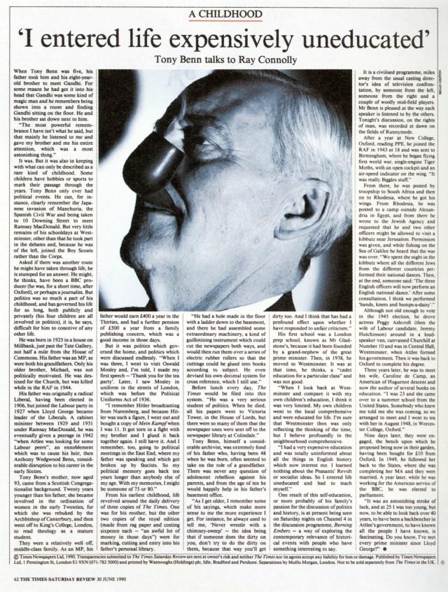 Brian Griffi, The Times 'Tony Benn'