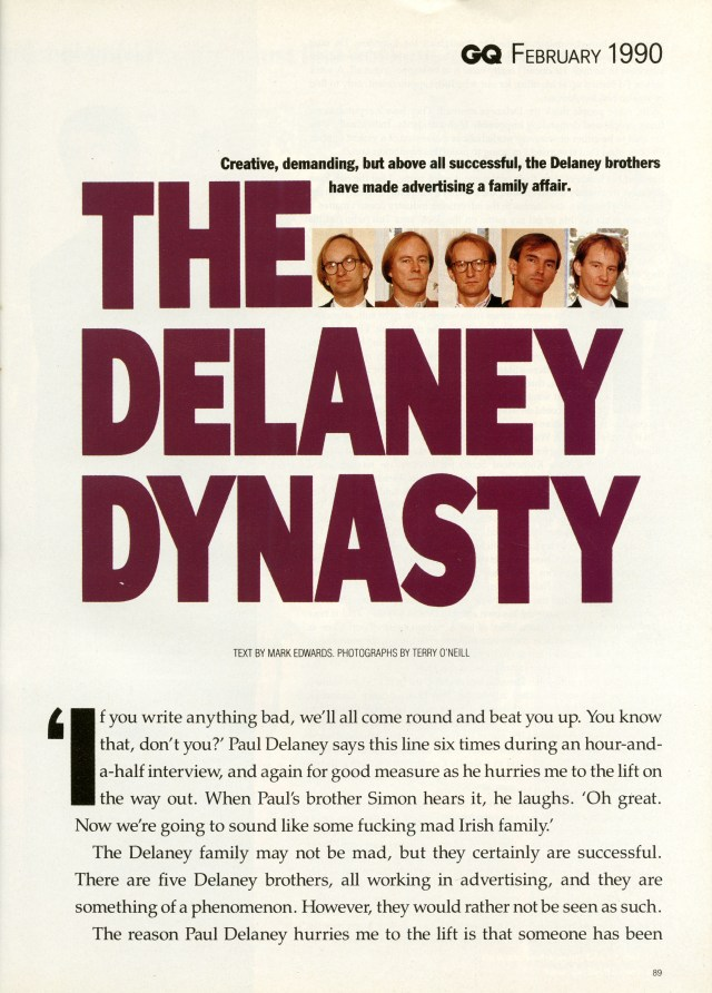 Tim Delaney, GQ 'The Delaneys, cover-01