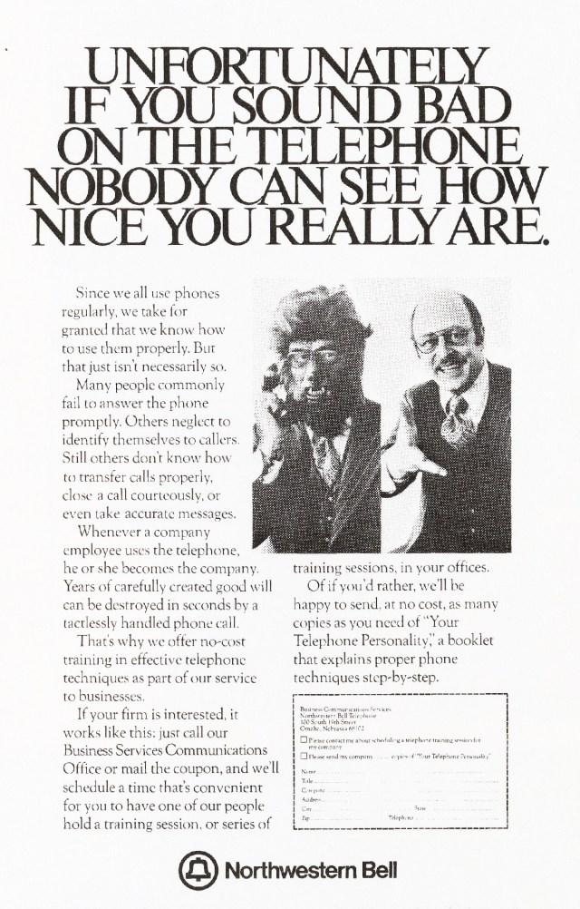 'Unfortunately If You' Northwestern Bell, Tom McElligott, Ron Anderson, Bozell-01.jpg