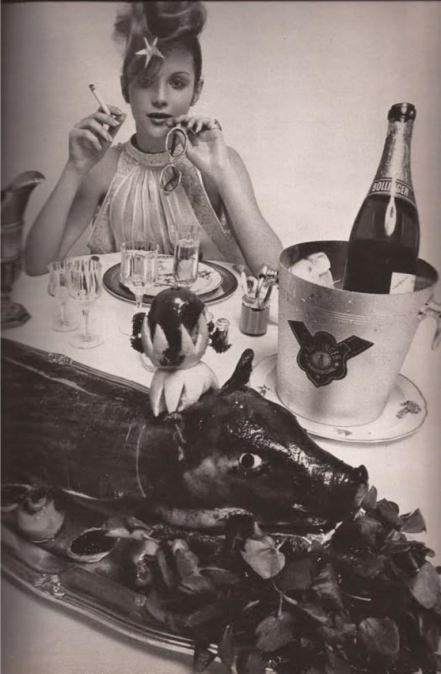 Guy Bourdin 'Champagne & Pig', French Vogue Dec. Jan 1970