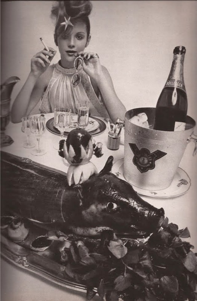 Guy Bourdin 'Champagne & Pig', French Vogue Dec. Jan 1970