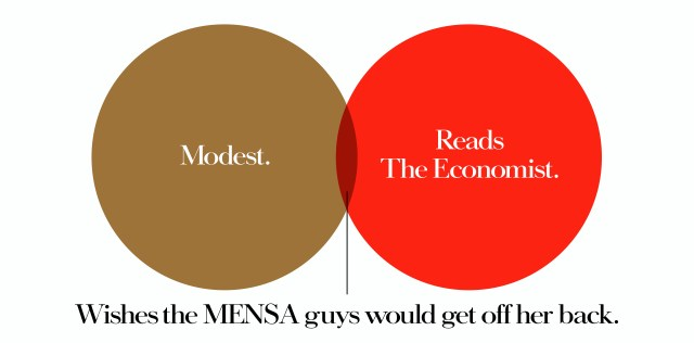 'Modest' The Economist, Dave Dye, Venn, 48 sheet, AMV-BBDO