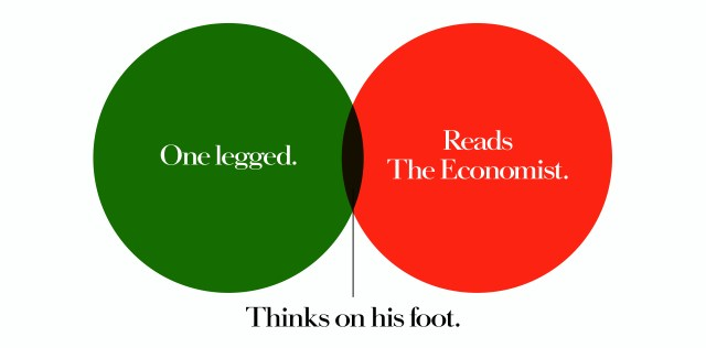 'One Legged' The Economist, Dave Dye, Venn, 48 sheet, AMV-BBDO