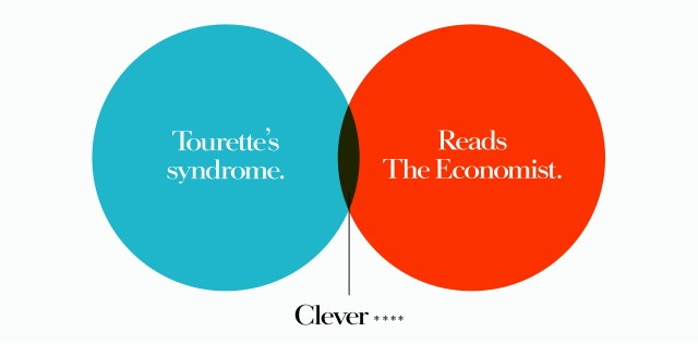 'Tourette's' The Economist, Dave Dye, Venn, 48 sheet, AMV-BBDO