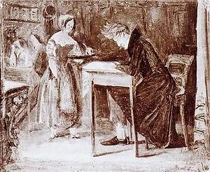 Kierkegaard in a coffee-house, an oil sketch