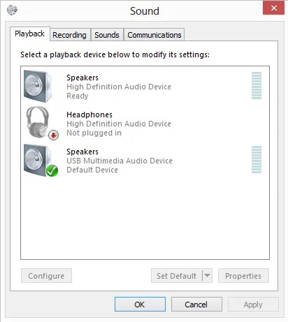 This is what the Windows sound application looks like on opening.