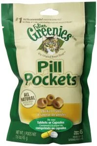 A package of Greenies Pill Pockets, chicken flavored.