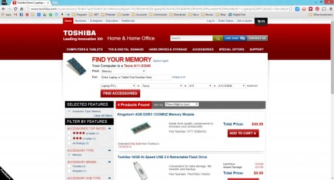 Screenshot of Toshiba Direct Search Result Page