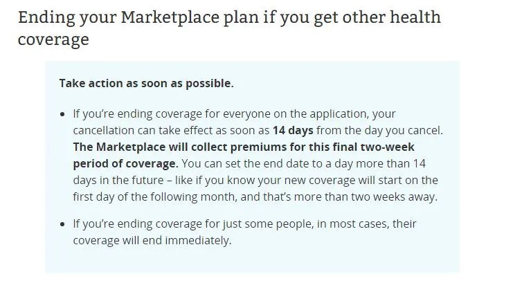 Screenshot of cancellation policy for Healthcare.gov