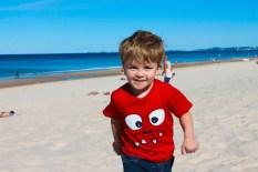 Xavier having fun at the beach.