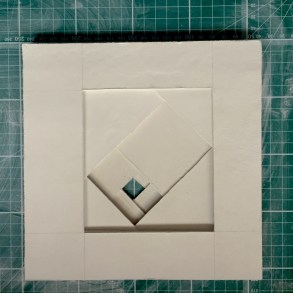 The cut sheets (20x20cm) superimposed before firing: 1