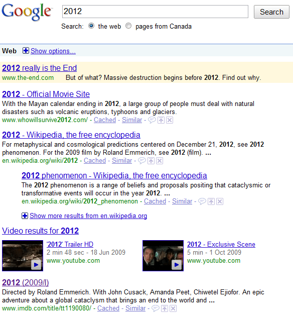 2012 search results