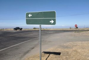 Sign showing two directions