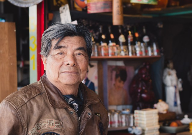 An artist and collector at the Neiwei Flea Market