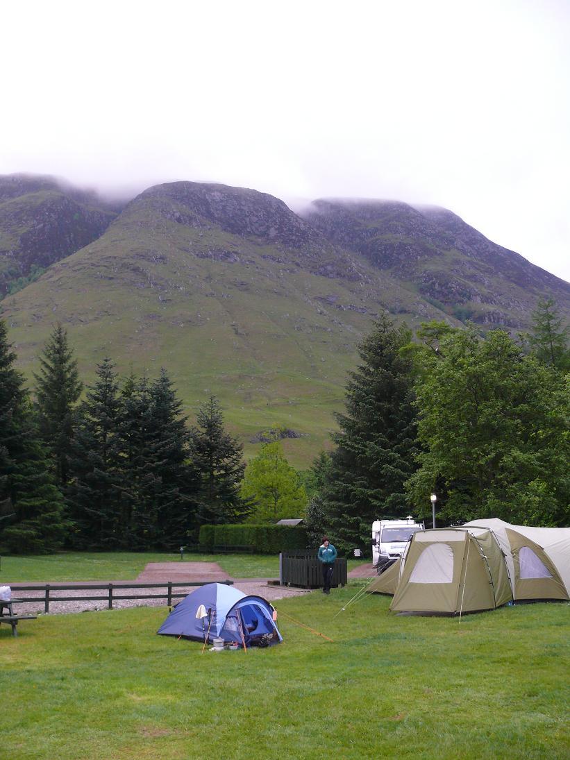 Tent  at Glen Nevis below Ben Nevis