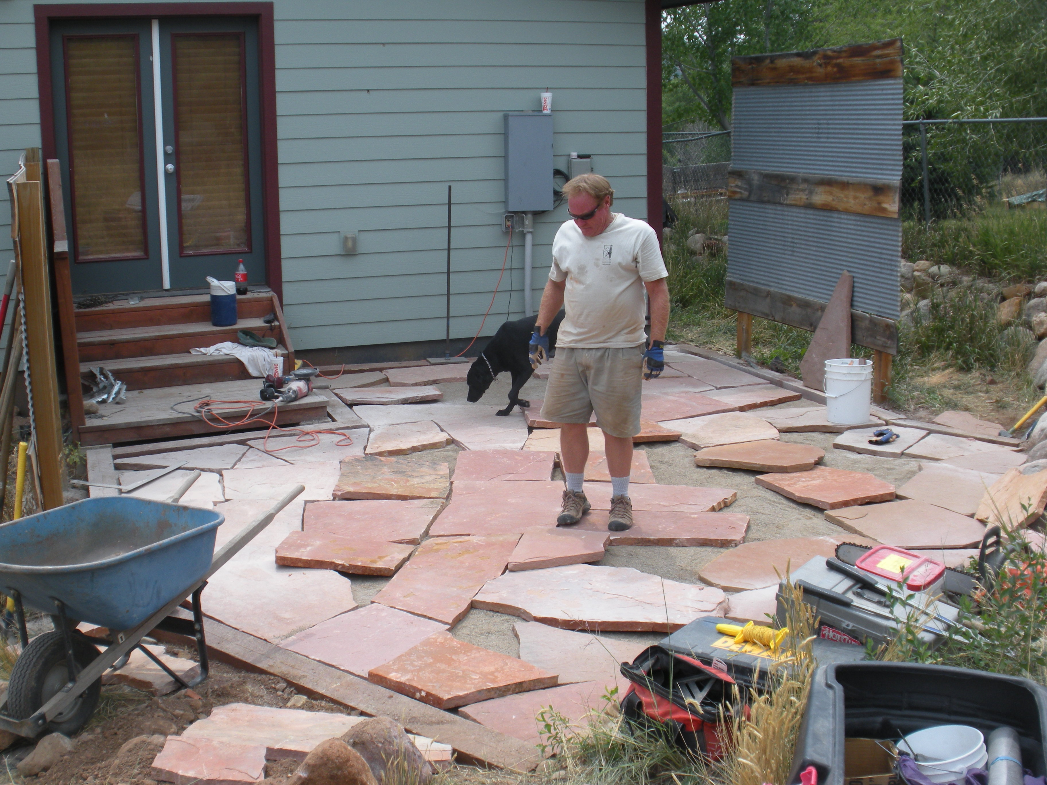 Durango Colorado Landscaper Gardenhart Installs Flagstone ... on Small Backyard Stone Patio Ideas id=72266