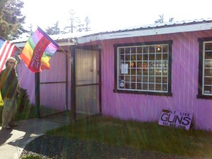 """Girl Like Guns, yes we do! This is a store on Hwy 101 in Newport. Painted pink on the outside but not at all """"girly"""" on the inside. Nice selection of guns for girls and guys."""