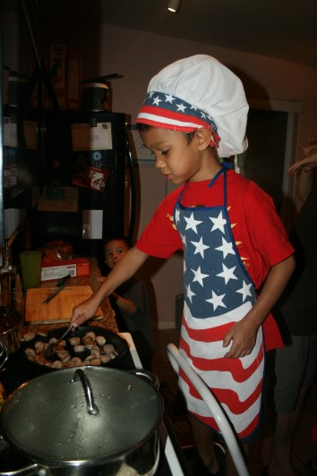 K-Dawg cooks breakfast for everyone.