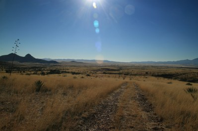 Wide expanse of desert and grassland. Looking south toward Mexico.